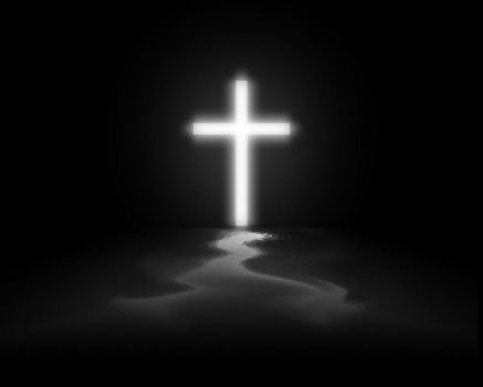 Lone cross by christians
