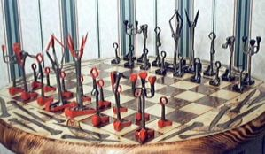 Horseshoenail chess set + tabl by farrierrich