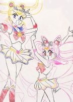 Sailor Moon and Chibi-Moon by sailorangel