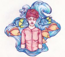 Girl and Fish by DaryaSpace