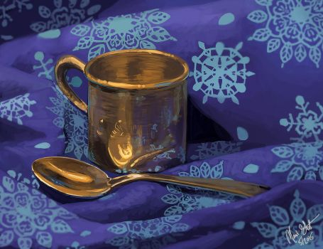 Silver spoon and cup still life by Majoh