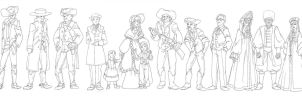 Western characters lineup by sarriathmoonghost