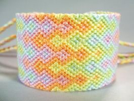 Pastel Rainbow Triple Flames Friendship Bracelet by QuietMischief
