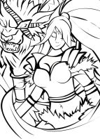 Rengar and Nidalee by BlondetteNZ