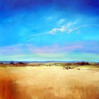 Summer Pastures -106x106cm by SaraPaxtonArtworks