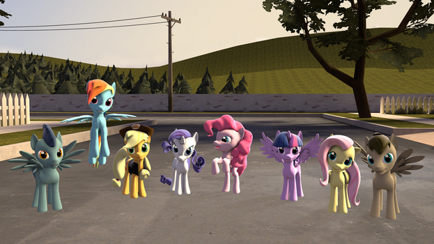 Clertens and Selvingo with mane 6 by clertens