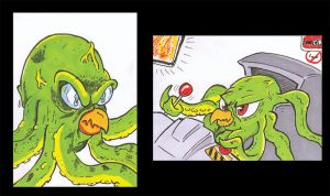 War of the Worlds Invaders sketch cards by PlummyPress