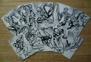 SPIDER MAN AND SCARLET SPIDER SKETCH CARDS by AHochrein2010