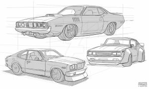 Car Sketches by freakyfir