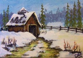 ACEO Snowy Mountain Barn by annieoakley64