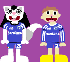 Francesca and Eddie in Chelsea Kits by HTFBlueFan2012