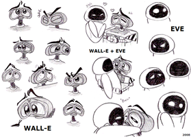 WALL-E and EVE sketches by PurpleRAGE9205