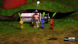 Olimar and his pikmin 3D by Mariohenri