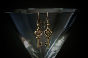 earrings - bronze keys by Sizhiven