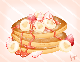 Strawberry Banana Pancakes by Lady-Suchiko