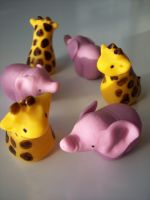 Fondant Giraffes and Elephants by eckabeck