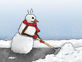 Snowman Shoveling Card by MichelleSix