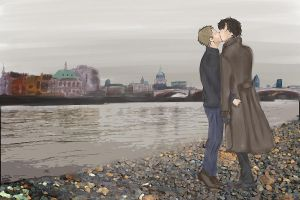 Kiss of John and Sherlock by WolframD