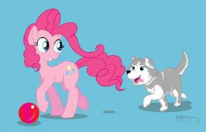 Pinkie Pie and huskie commission by bunnimation