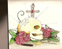 skull and roses by charly-d-squirrel