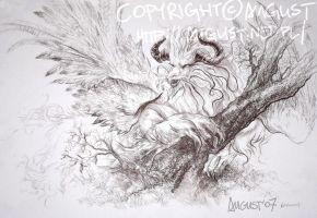 Feathered Dragon on Tree by AugustAnna