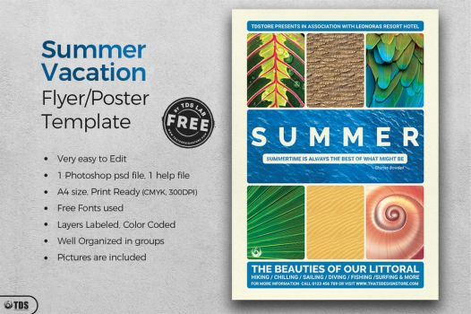 FREE Summer Vacation Flyer Template by Thats-Design