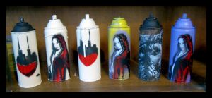 Miscellaneous painted spray cans by kriminalrx