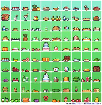 100 Food sprites by Neoriceisgood