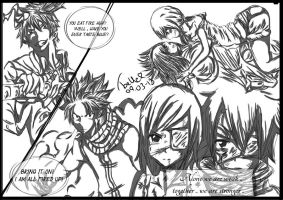 Crossover and Fairy Tail members - (sketchshade) by felixne