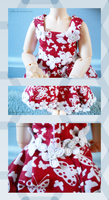 YoSD Dress -- Red+White Butterflies by Sulna
