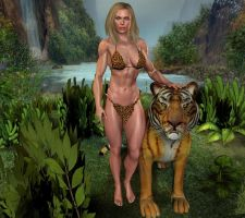 jungle girl and tiger by vesubio79dc