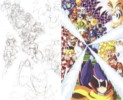 Mega Man 4 fan art sketch and color 1 by d13mon-studios
