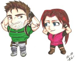 Chris N' Claire Redfield Chibi by WhirledlyGoodz