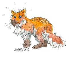 calico freckled fox cat by HiddenStash