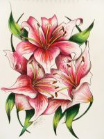 Pink Lily tattoo by Rhianne-Almond
