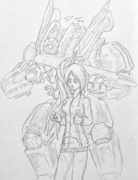 Some mech and a girl. by MidstOfSkyHaven