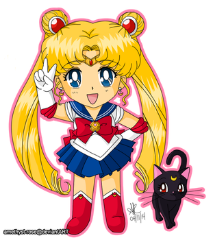 01. Sailor Moon and Luna by amethyst-rose