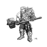 Dwarf with warhammer by CeGeA