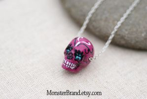 Pink Sugar Skull Necklace by MonsterBrandCrafts