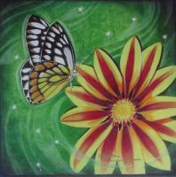 flower and butterfly by nherdmann
