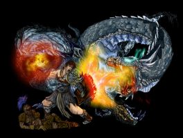 bandos warrior Vs Blue dragon by l3nbak