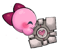 Kirby and the Companion Cube by Kusamochi