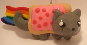 Nyan Cat Polymer Clay by CHR0NIE