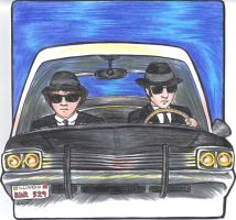 Blues Brothers Birthday Card by Jadzialana