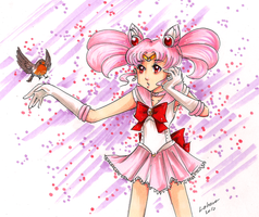 Sailor Chibimoon with robin by Lahara