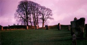 violet sky and standing stones by combray