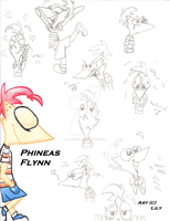 Phineas Flynn Sketches and Expressions by Leilani-Lily
