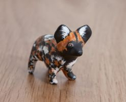 African wild dog, polymer clay totem by lifedancecreations