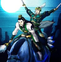 Zhuge Liang and Liu Bei by tekoyo
