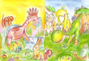 ACEO-Swan and Yoshiworld by Sulfura